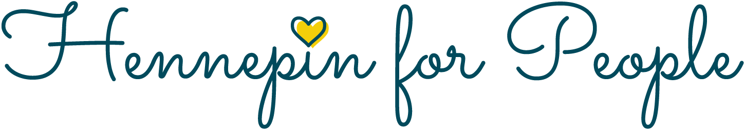 Hennepin for People cursive font. Lowercase i dot is replaced with a yellow heart.