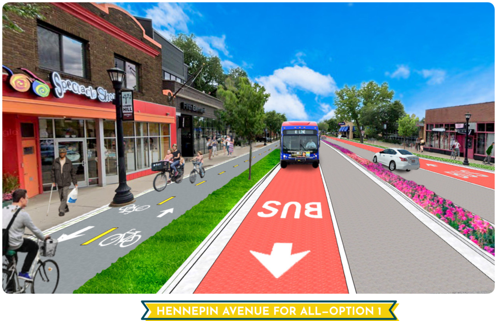 Hennepin Option 1 Rendering. Text in yellow banner Hennepin Avenue for All--Option 1. Mom and kids biking north on street. People of all abilities out enjoying a vibrant place for people.