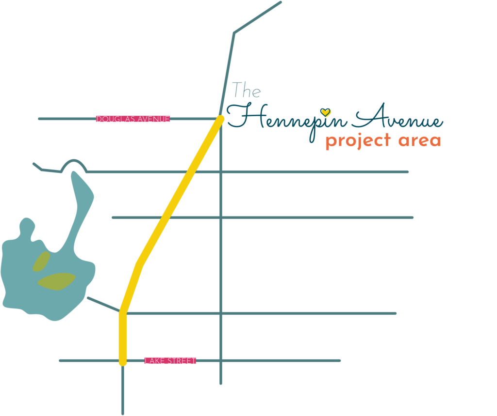 Hennepin Avenue project area map. Simplified map with lines, graphic representation. Yellow thick route line along project area from Lake Street to Douglas Avenue. Project area streets are marked. Lake of the Isles included on map.