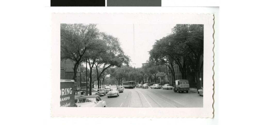 Streetcar on Hennepin in Lowry Hill. Black and white photograph. Image courtesy of Minnesota Digital Library.