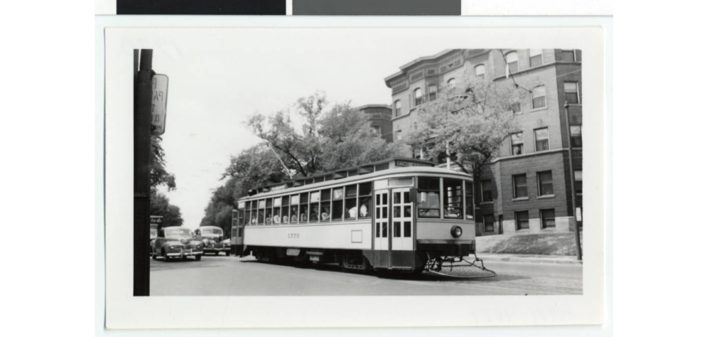 Streetcar on Hennepin in Lowry Hill descending. Black and white photograph.Image courtesy of Minnesota Digital Library.