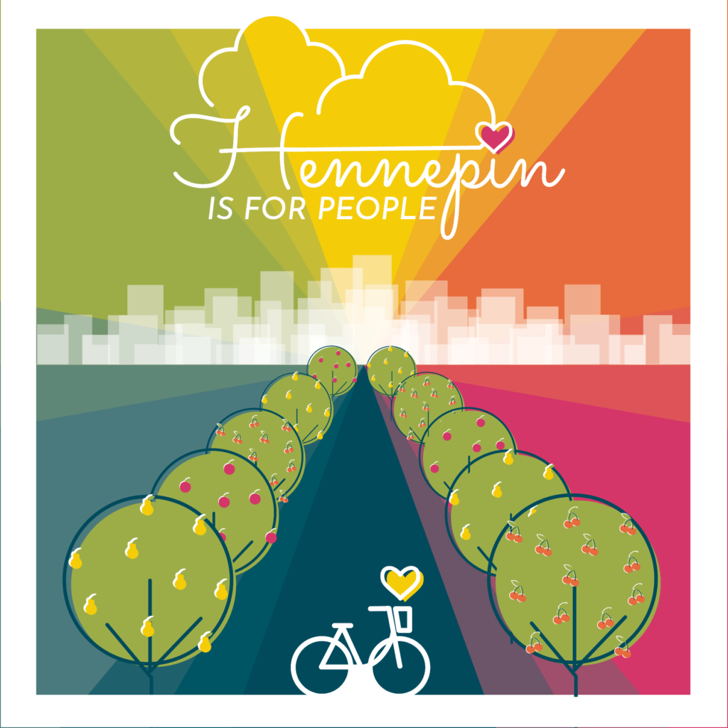 colorful spectrum of colors, bike and tree lined street with skyline in background.